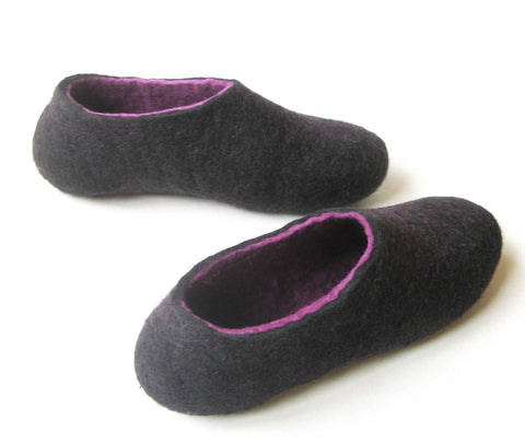 Womens Indoor Felted Slippers Purple Black