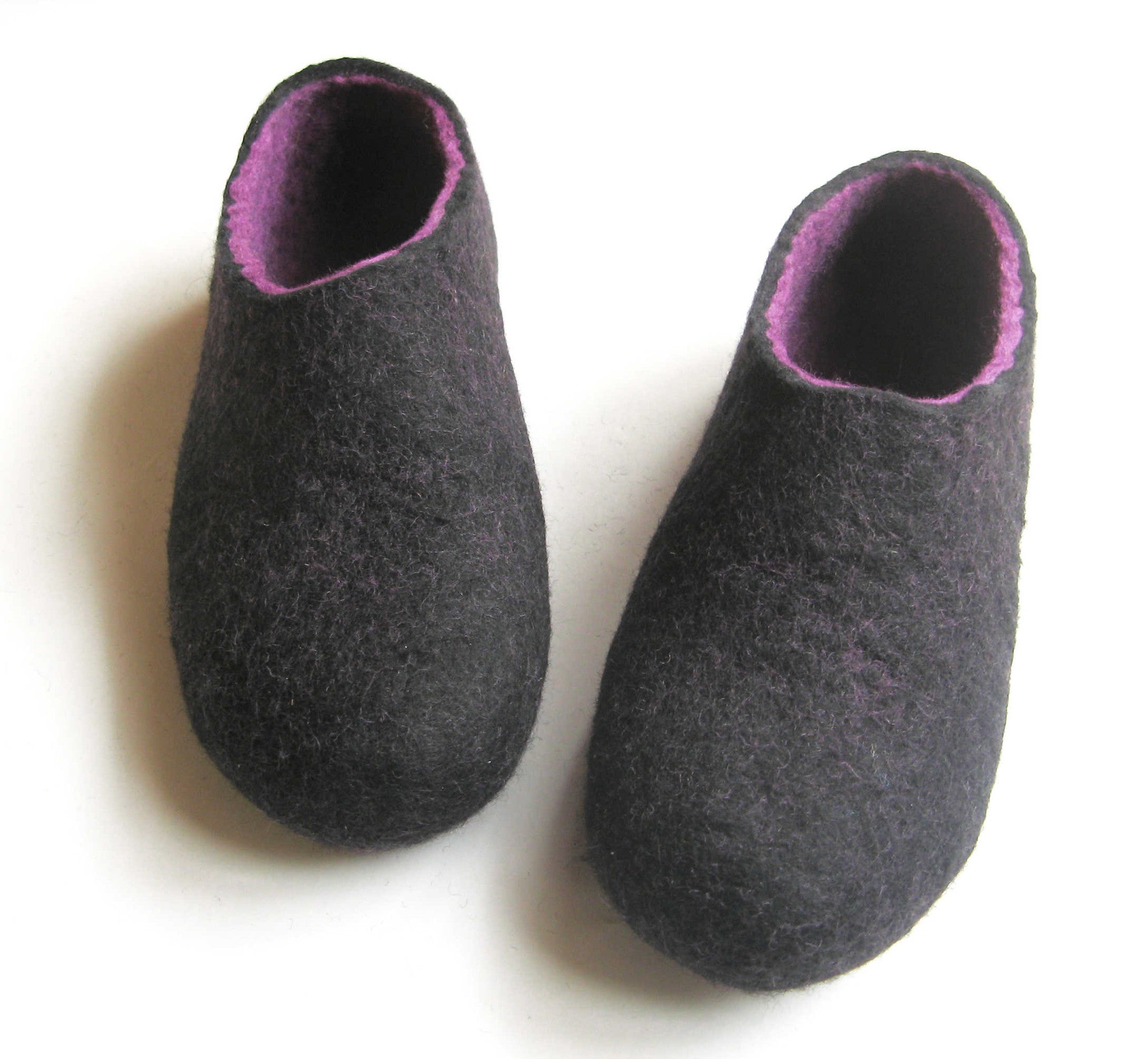 Womens Indoor Felted Slippers Purple Black - Wool Walker  - 4