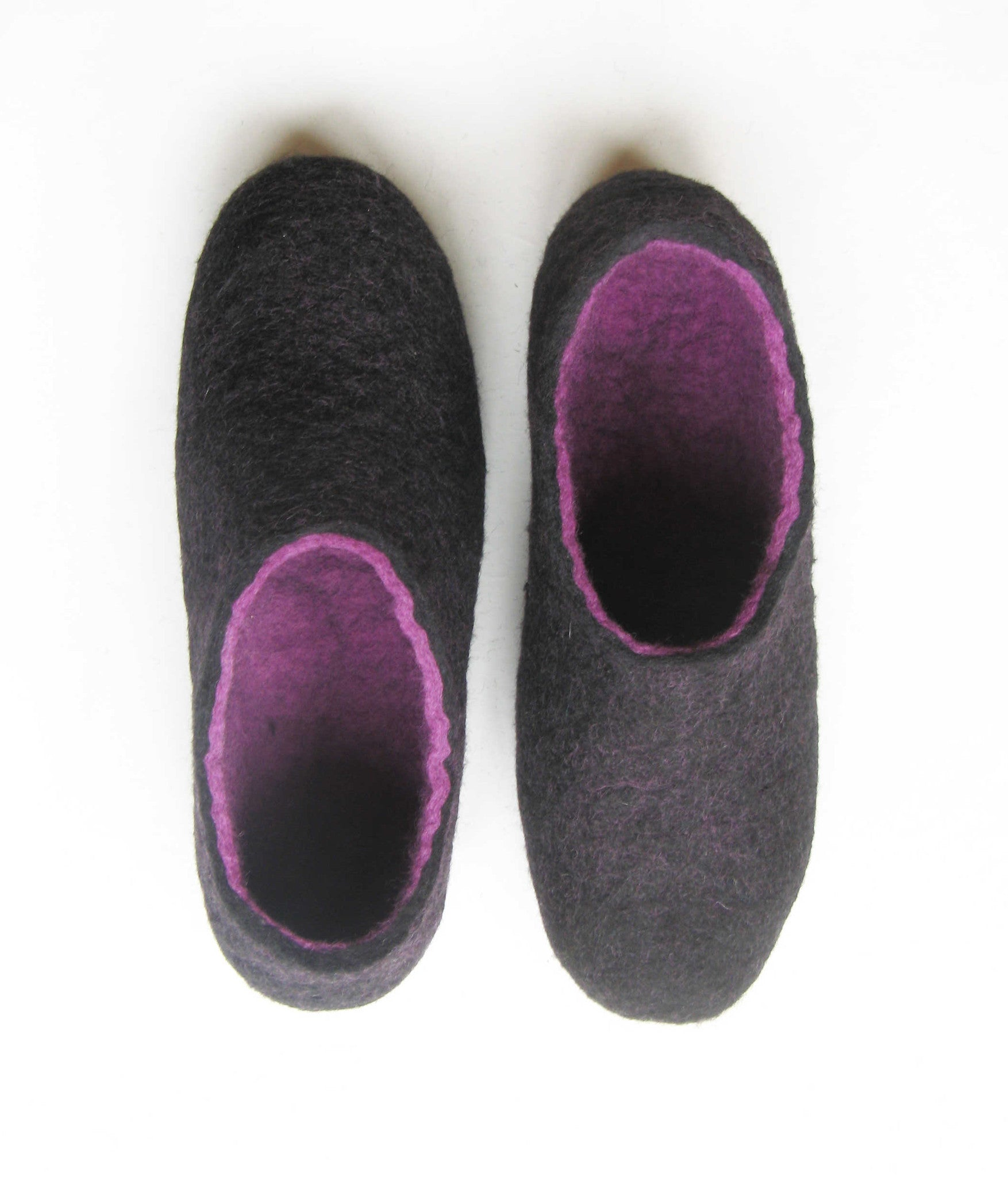 Womens Indoor Felted Slippers Purple Black - Wool Walker  - 5