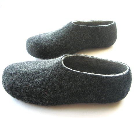 Mens Indoor Felted Slippers Charcoal