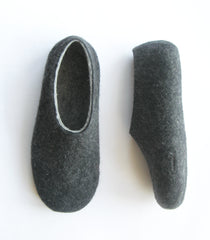 Mens Indoor Felted Slippers Charcoal - Wool Walker  - 3