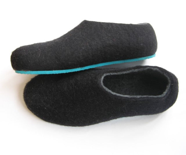Mens Felted Slippers Charcoal Color Sole - Wool Walker  - 4