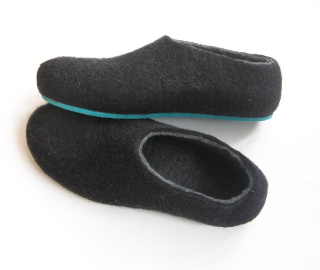 Mens Felted Slippers Charcoal Color Sole - Wool Walker  - 1