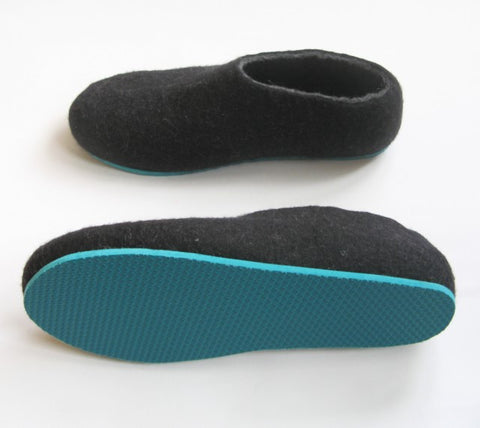 Mens Felted Slippers Charcoal Color Sole