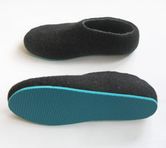 Mens Felted Slippers Charcoal Color Sole - Wool Walker  - 2