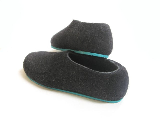 Mens Felted Slippers Charcoal Color Sole - Wool Walker  - 3