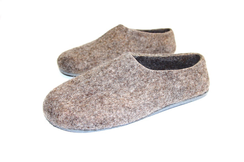 Womens Eco Friendly Felted Slippers Color Rubber Sole