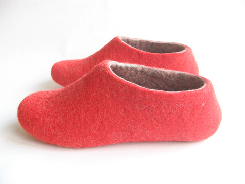 Womens Felted Slippers Red Strawberry Indoors