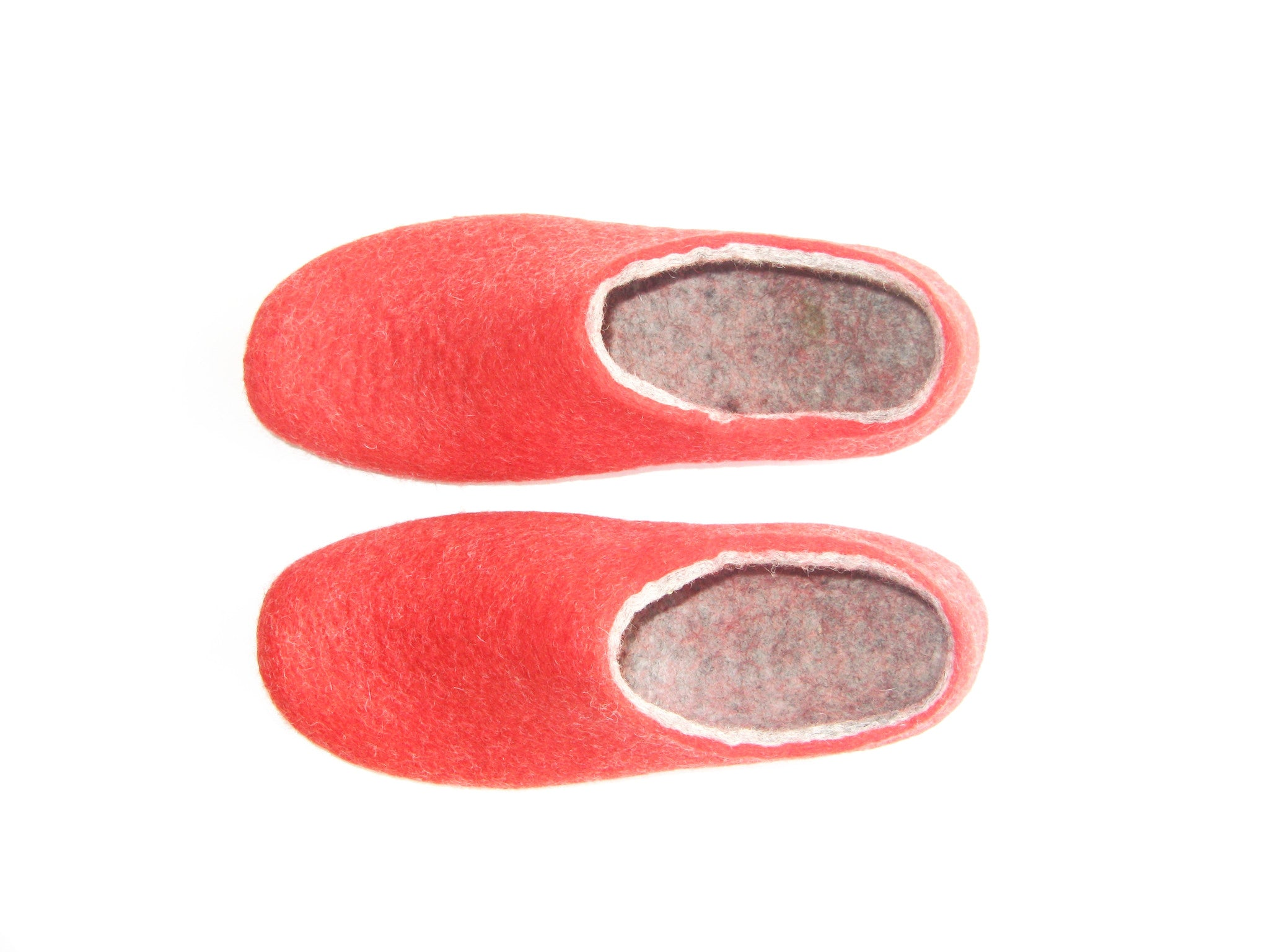 Womens Felted Slippers Red Strawberry Indoors - Wool Walker  - 3