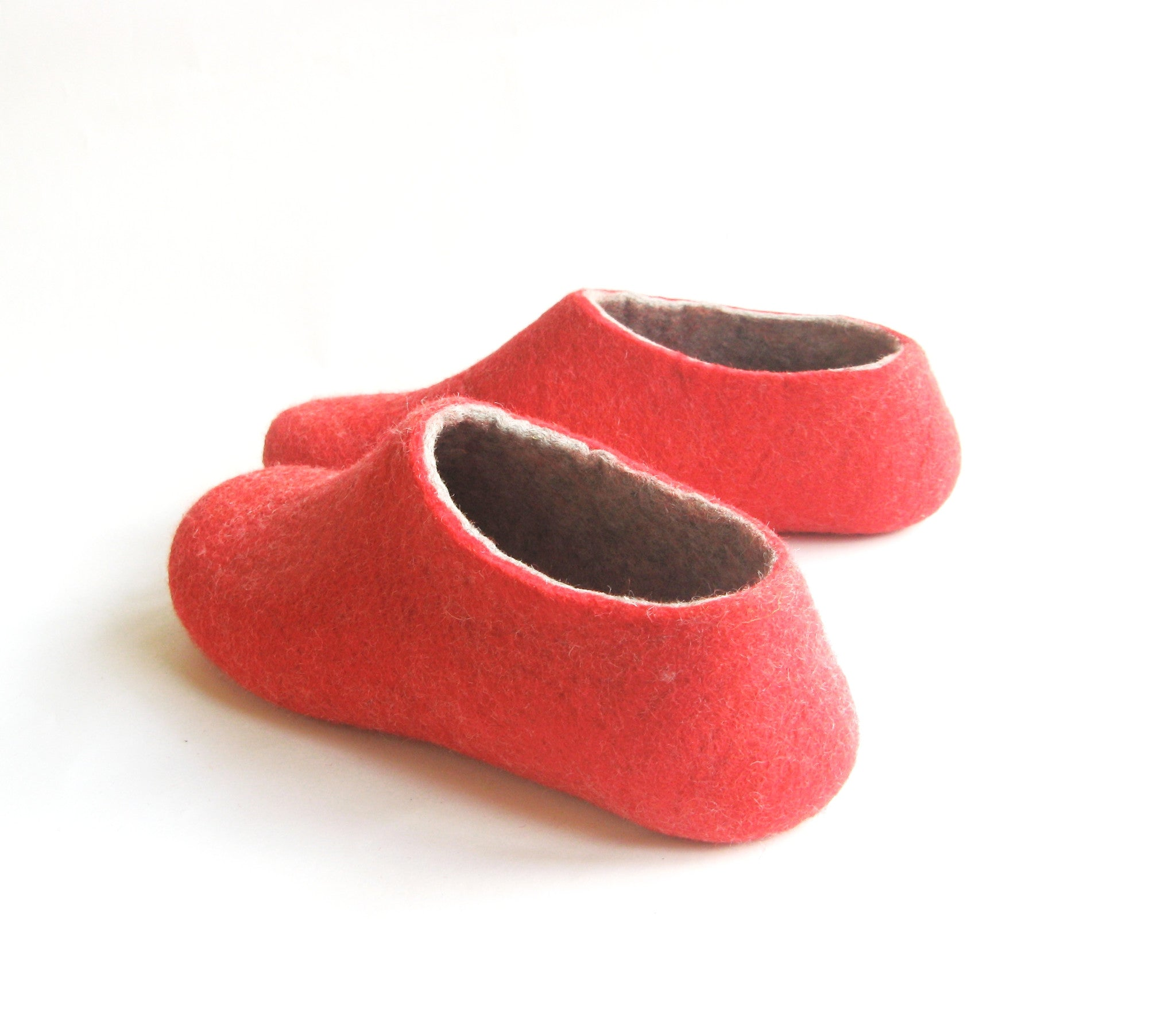 Womens Felted Slippers Red Strawberry Indoors - Wool Walker  - 4