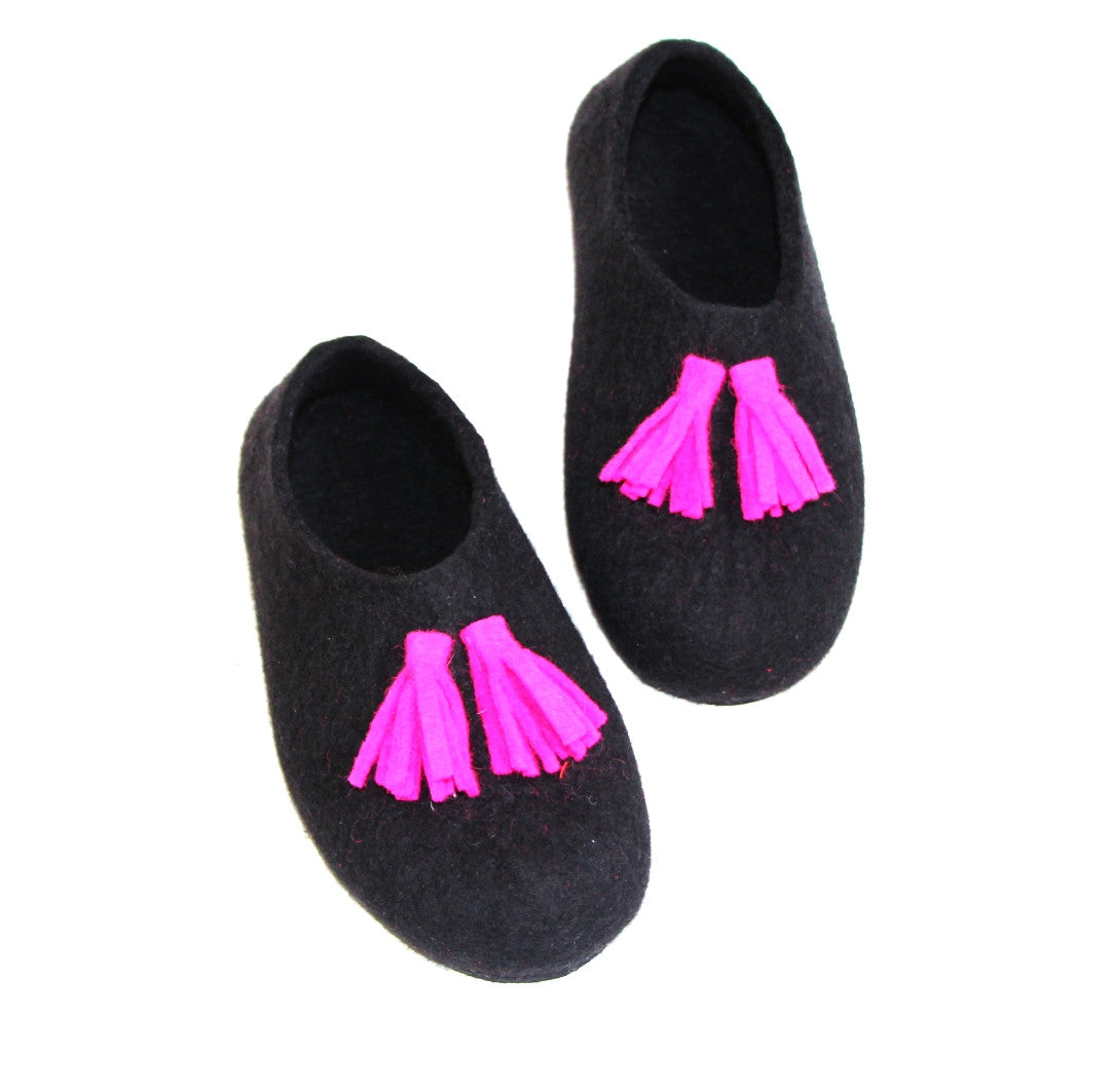 Womens Tassel Slippers Black Fuchsia Contrast Sole - Wool Walker  - 1
