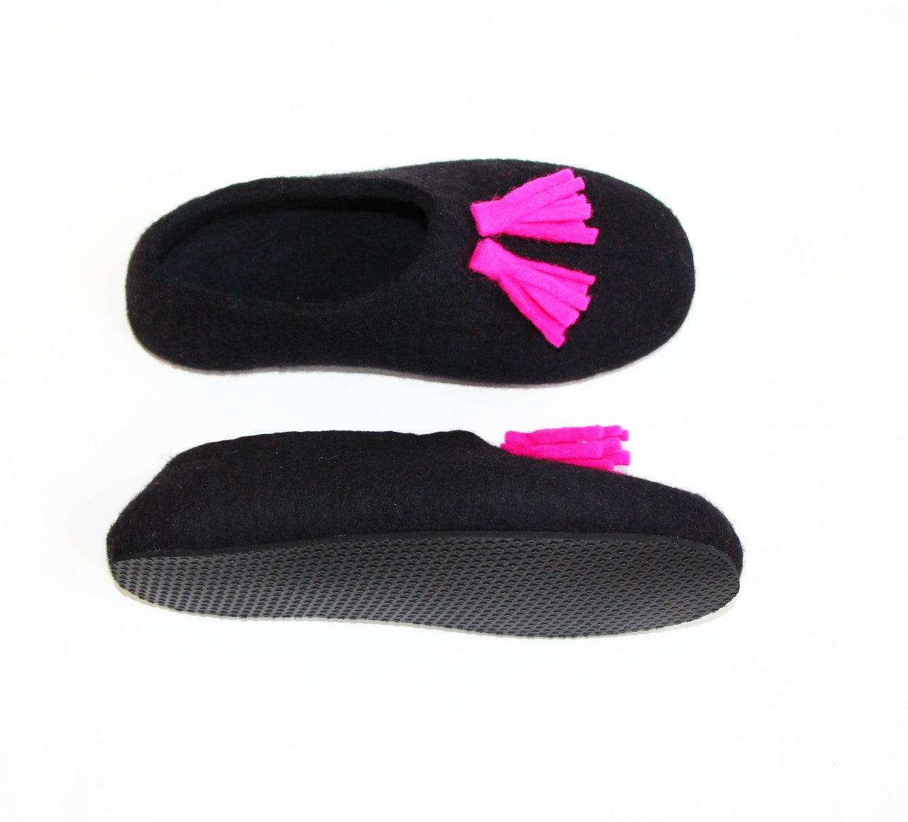 Womens Tassel Slippers Black Fuchsia Contrast Sole - Wool Walker  - 2