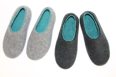 Womens Wool Felted Slippers Black Hemlock Indoors