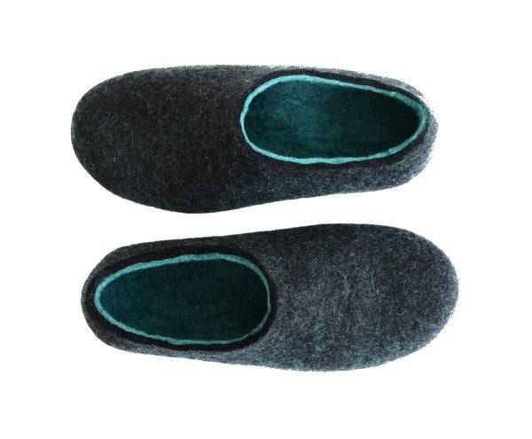 Womens Wool Felted Slippers Black Hemlock Indoors - Wool Walker  - 1