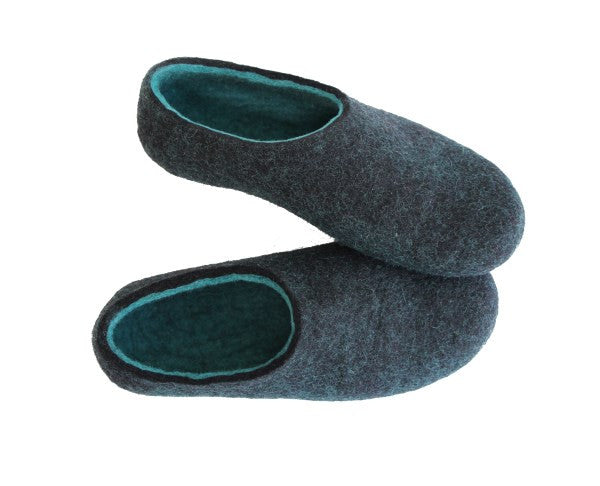 Womens Wool Felted Slippers Black Hemlock Indoors - Wool Walker  - 6