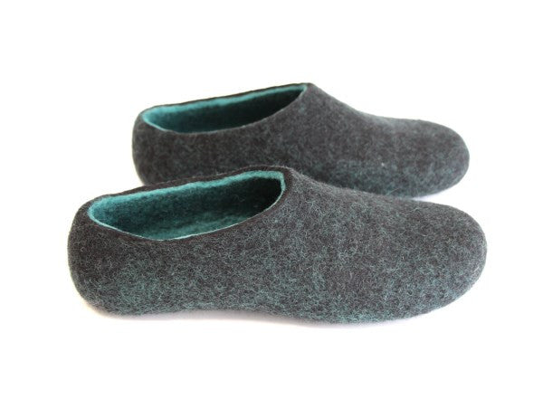 Womens Wool Felted Slippers Black Hemlock Indoors - Wool Walker  - 7
