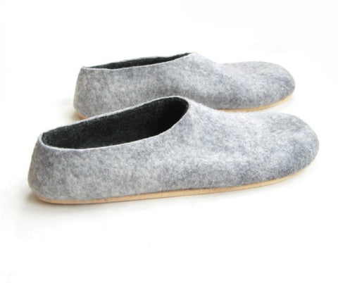 Mens Felt Slippers Grey Black Cork Sole
