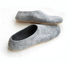 Mens Felt Slippers Grey Black Cork Sole - Wool Walker  - 1