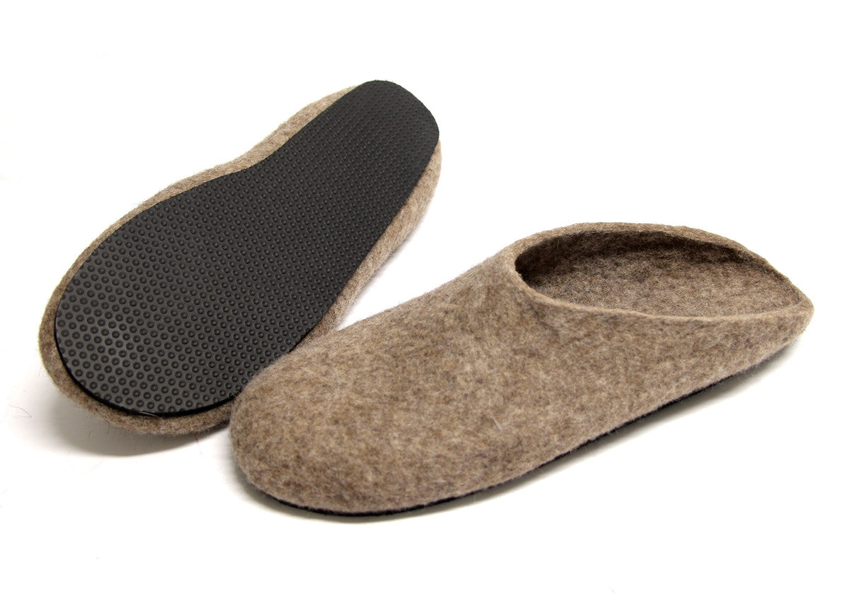 Mens Eco Friendly Felt Clogs Brown Rubber Sole - Wool Walker  - 2