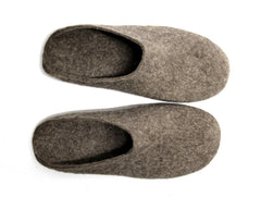 Mens Eco Friendly Felt Clogs Brown Rubber Sole - Wool Walker  - 3