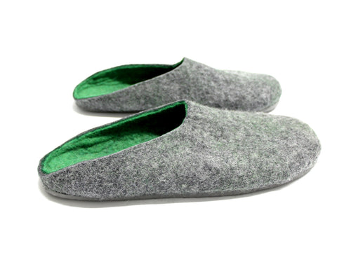 Mens Felt Clogs Dark Grey Green Color Sole
