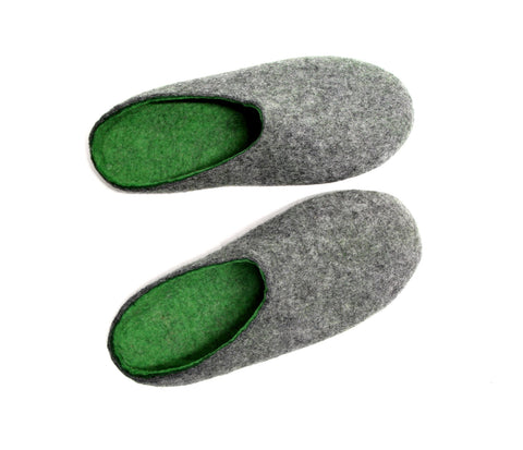 Mens Wool Slippers Clogs Dark Grey Green Color Sole