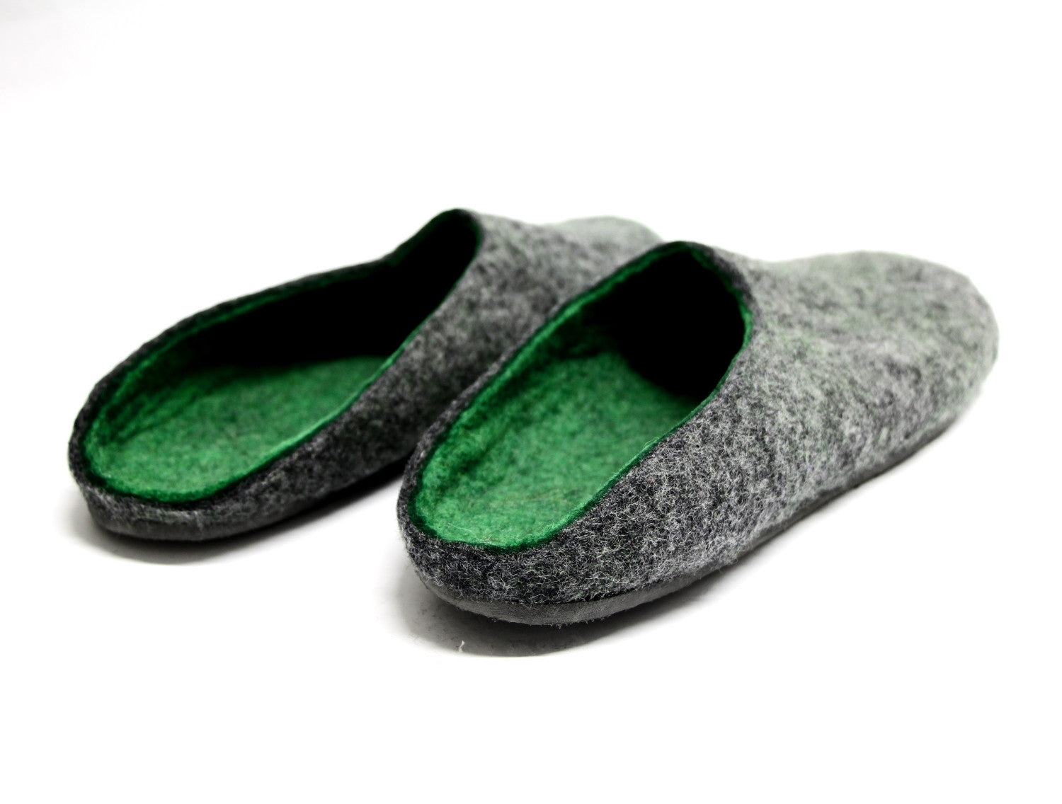 Mens Felt Clogs Dark Grey Green Color Sole - Wool Walker  - 3