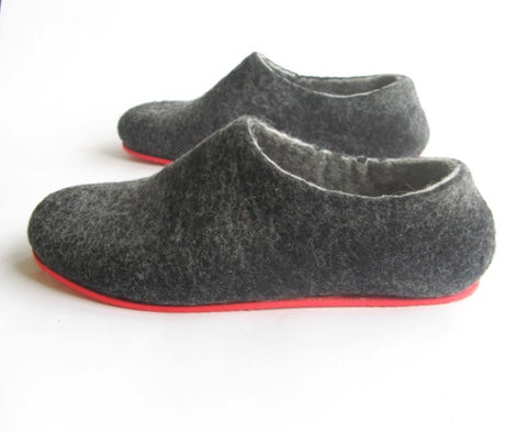 Mens Felt House Slippers Charcoal Contrast Sole