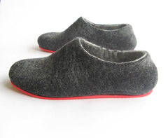 Mens Felt House Slippers Charcoal Contrast Sole - Wool Walker  - 1