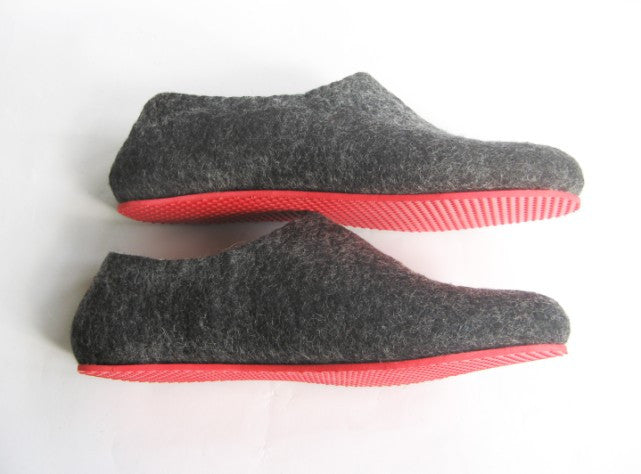 Mens Felt House Slippers Charcoal Contrast Sole - Wool Walker  - 2