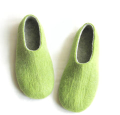 Mens Felt House Shoes Green Woods Contrast Sole - Wool Walker  - 1