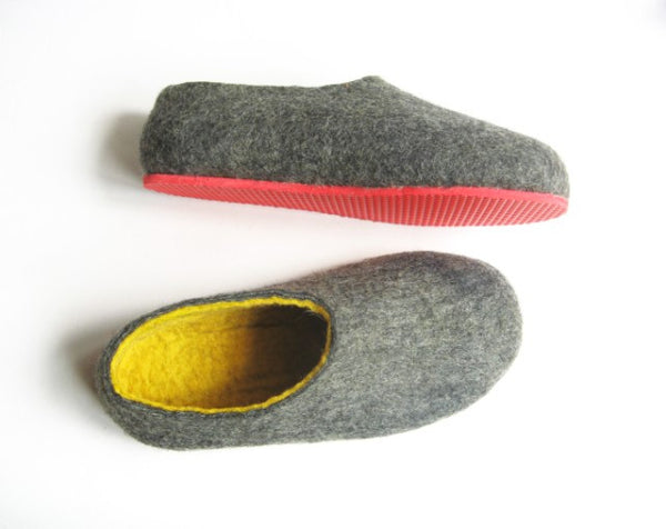 Mens Felted Slippers Grey Yellow Contrast Sole - Wool Walker  - 1