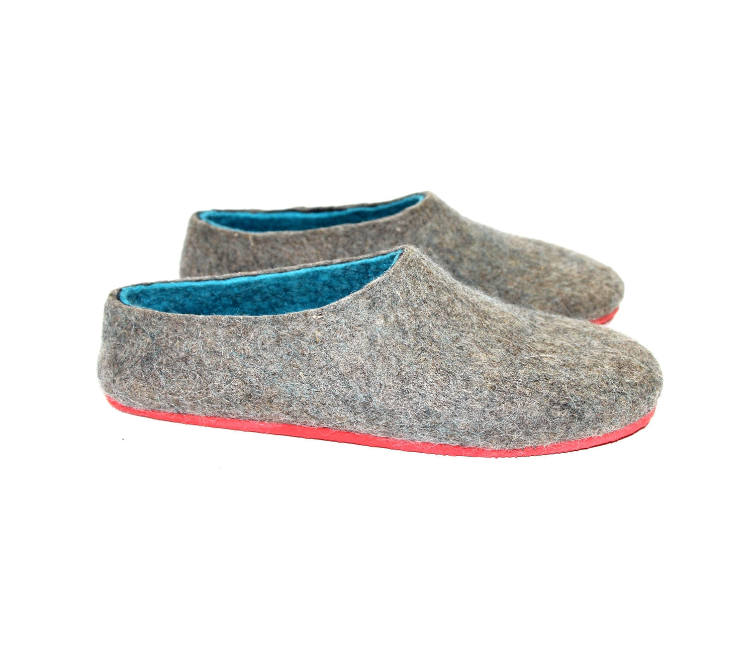 Mens Wool Shoes Gray Turquoise - Wool Walker  - 3