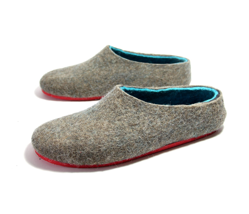 Mens Wool Shoes Gray Turquoise - Wool Walker  - 1