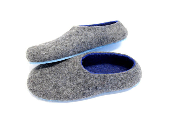 Mens Felt House Shoes Grey Navy Blue Rubber Sole - Wool Walker  - 1