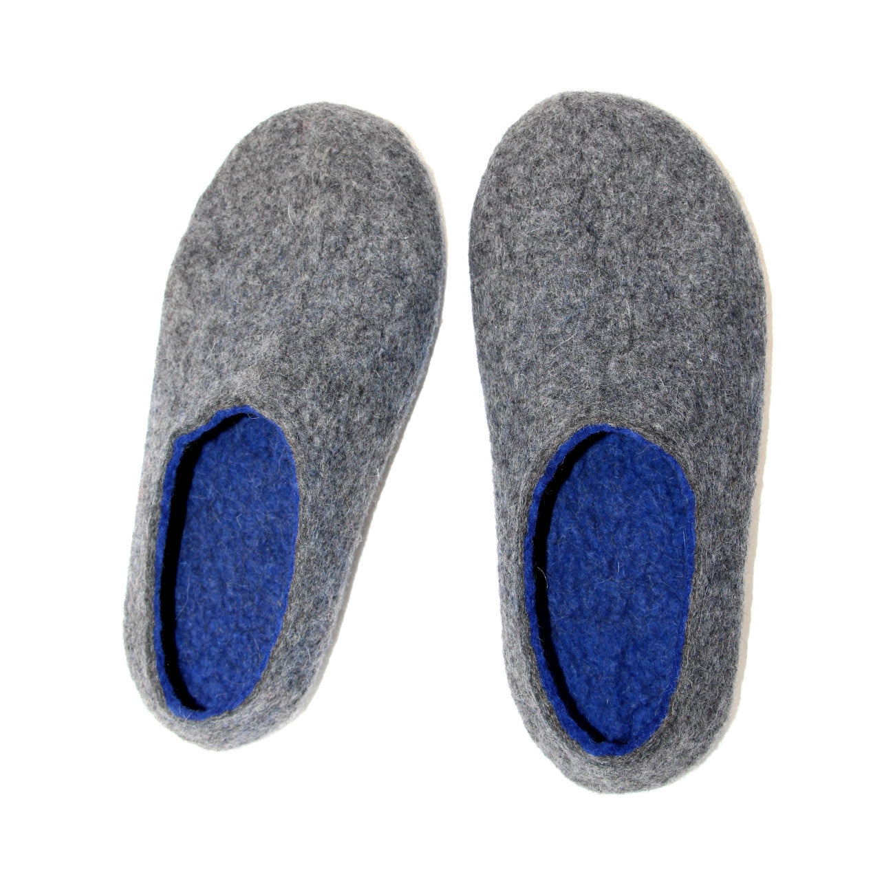 Mens Felt House Shoes Grey Navy Blue Rubber Sole - Wool Walker  - 2