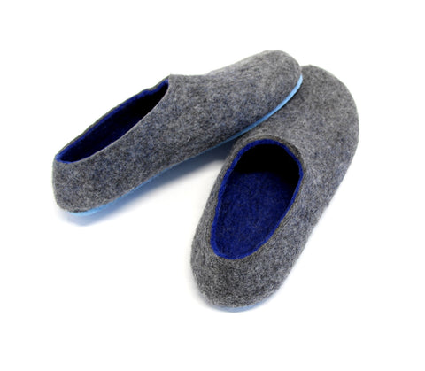 Mens Felt House Shoes Grey Navy Blue Rubber Sole