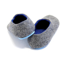 Mens Felt House Shoes Grey Navy Blue Rubber Sole - Wool Walker  - 4