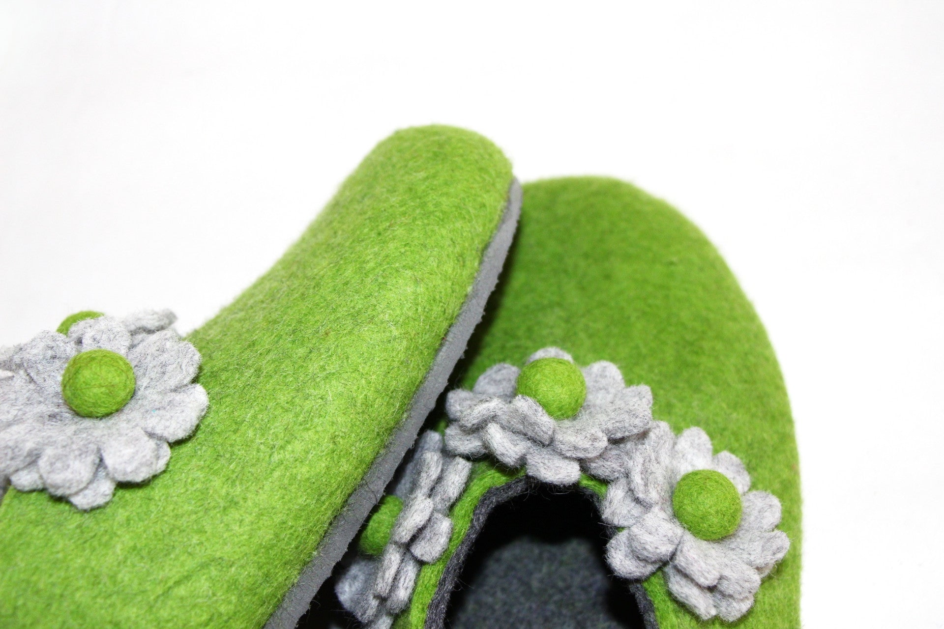 Womens Felt House Shoes Green Bloom Floral Contrast Sole - Wool Walker  - 3