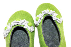 Womens Felt House Shoes Green Bloom Floral Contrast Sole - Wool Walker  - 4