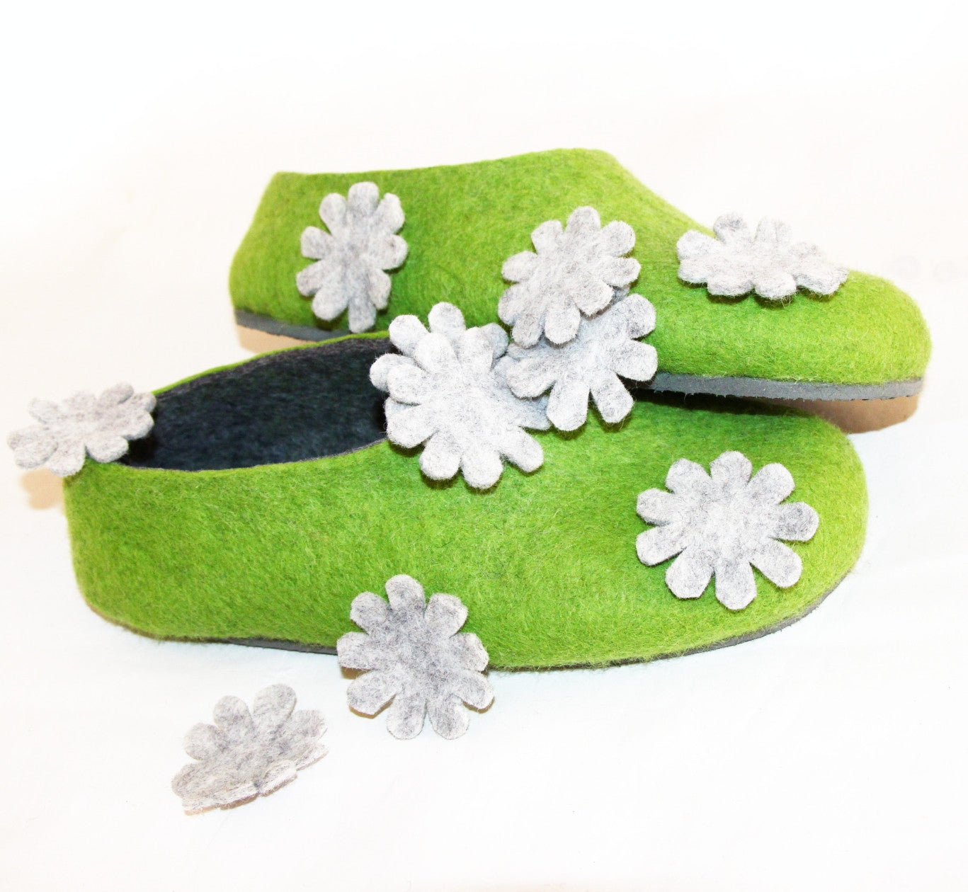 Womens Felt House Shoes Green Bloom Floral Contrast Sole - Wool Walker  - 7