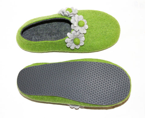 Womens Felt House Shoes Green Bloom Floral Contrast Sole