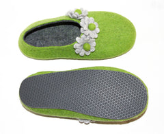Womens Felt House Shoes Green Bloom Floral Contrast Sole - Wool Walker  - 2
