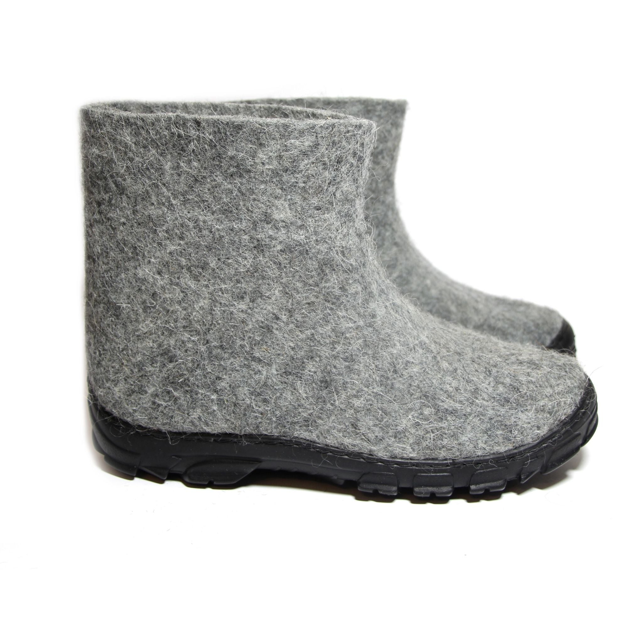 Outdoor Felt Ankle Boots Men Organic Gray - WOOLWALKER