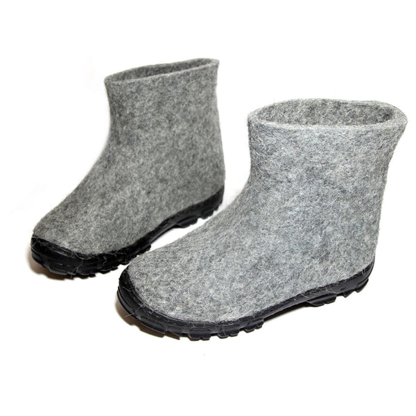 Wool Ankle Boots Men Organic Gray - WOOLWALKER