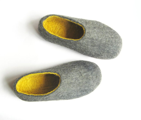 Mens Felted Slippers Grey Yellow Contrast Sole - Wool Walker  - 2