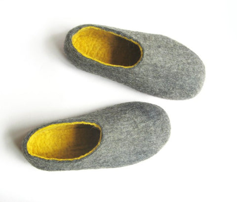 Mens Felted Slippers Grey Yellow Contrast Sole