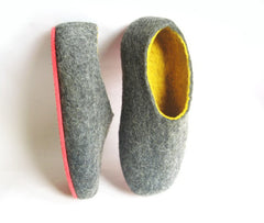 Mens Felted Slippers Grey Yellow Contrast Sole - Wool Walker  - 3