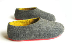 Mens Felted Slippers Grey Yellow Contrast Sole - Wool Walker  - 4