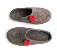 Womens Eco Friendly Felt Mules Love Heart Contrast Sole - Wool Walker  - 2